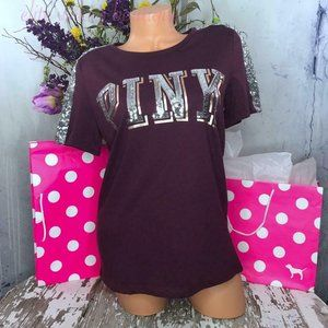 PINK SHORT SLEEVE SEQUIN BLING PERFECT CREW TEE